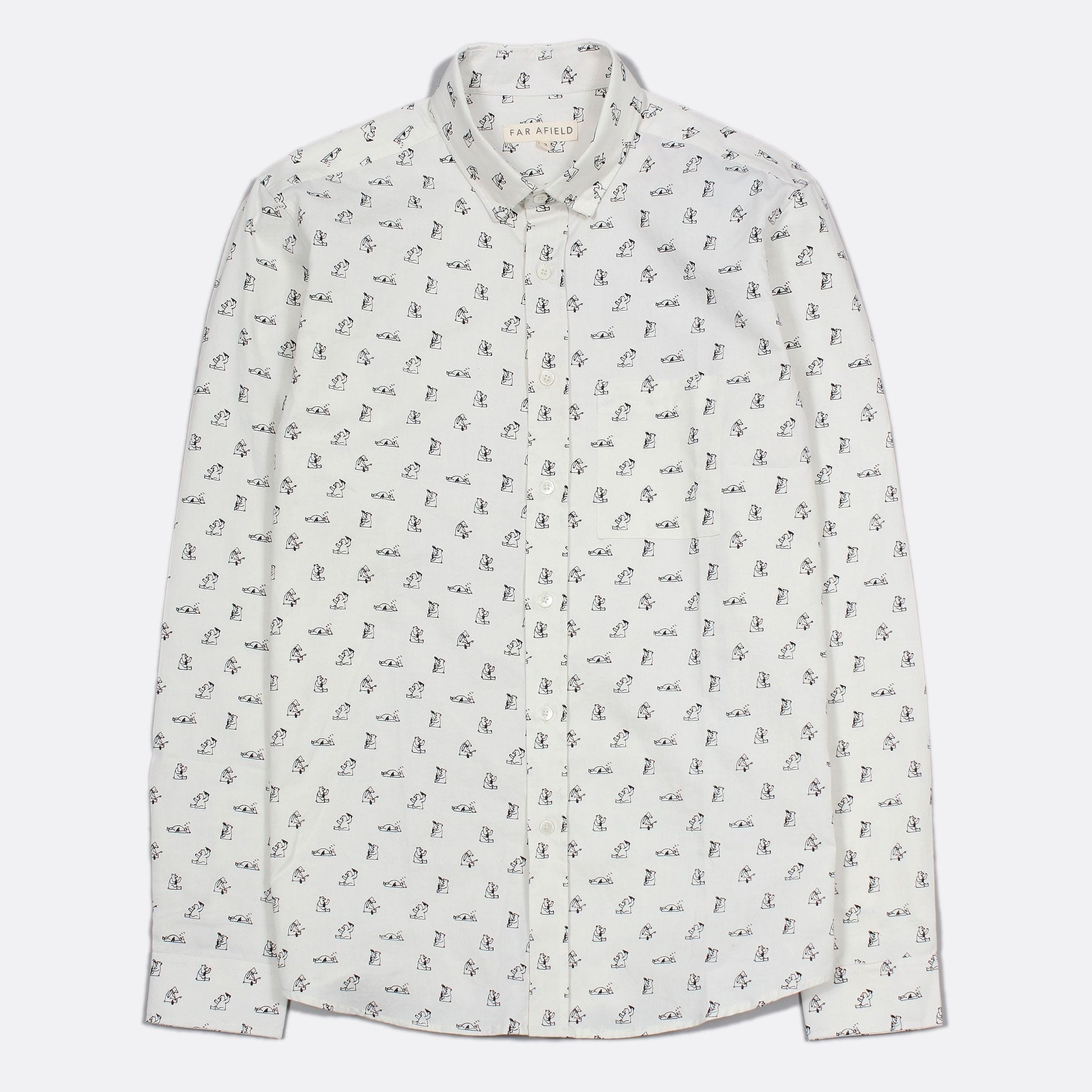 Far Afield Cognito Long Sleeve Shirt a Cotton White Grizzly Bear Repeat Pattern Print Fabric
