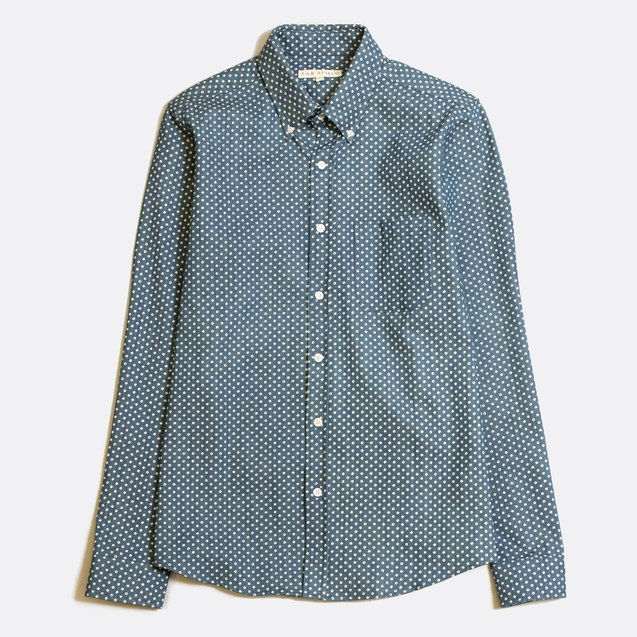 Far Afield Mod Button Down Long Sleeve Shirt a Chambray Cotton Blue Polka Dot Repeat Pattern Print Fabric