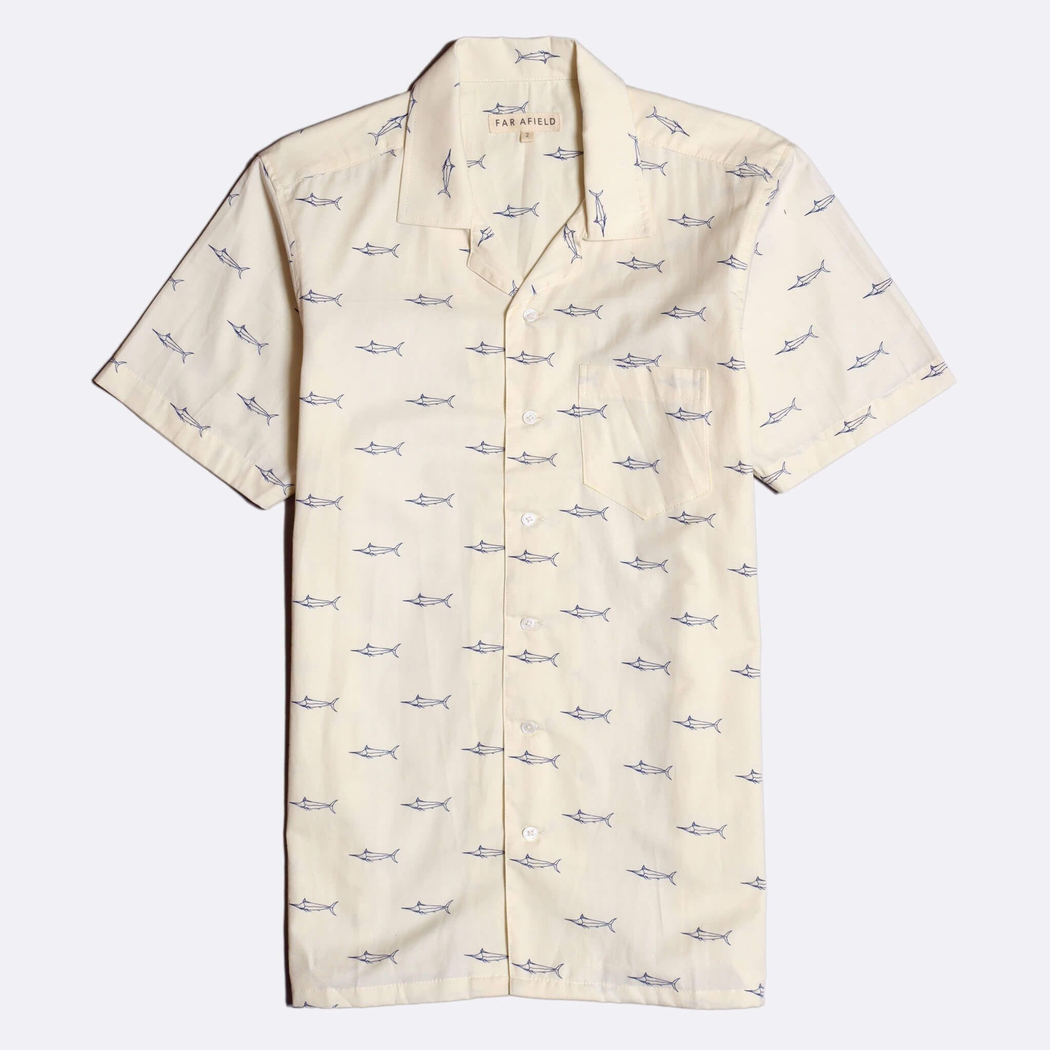 Far Afield Stachio Short Sleeve Shirt a Cotton White Hawaiian Bowling Style Fabric