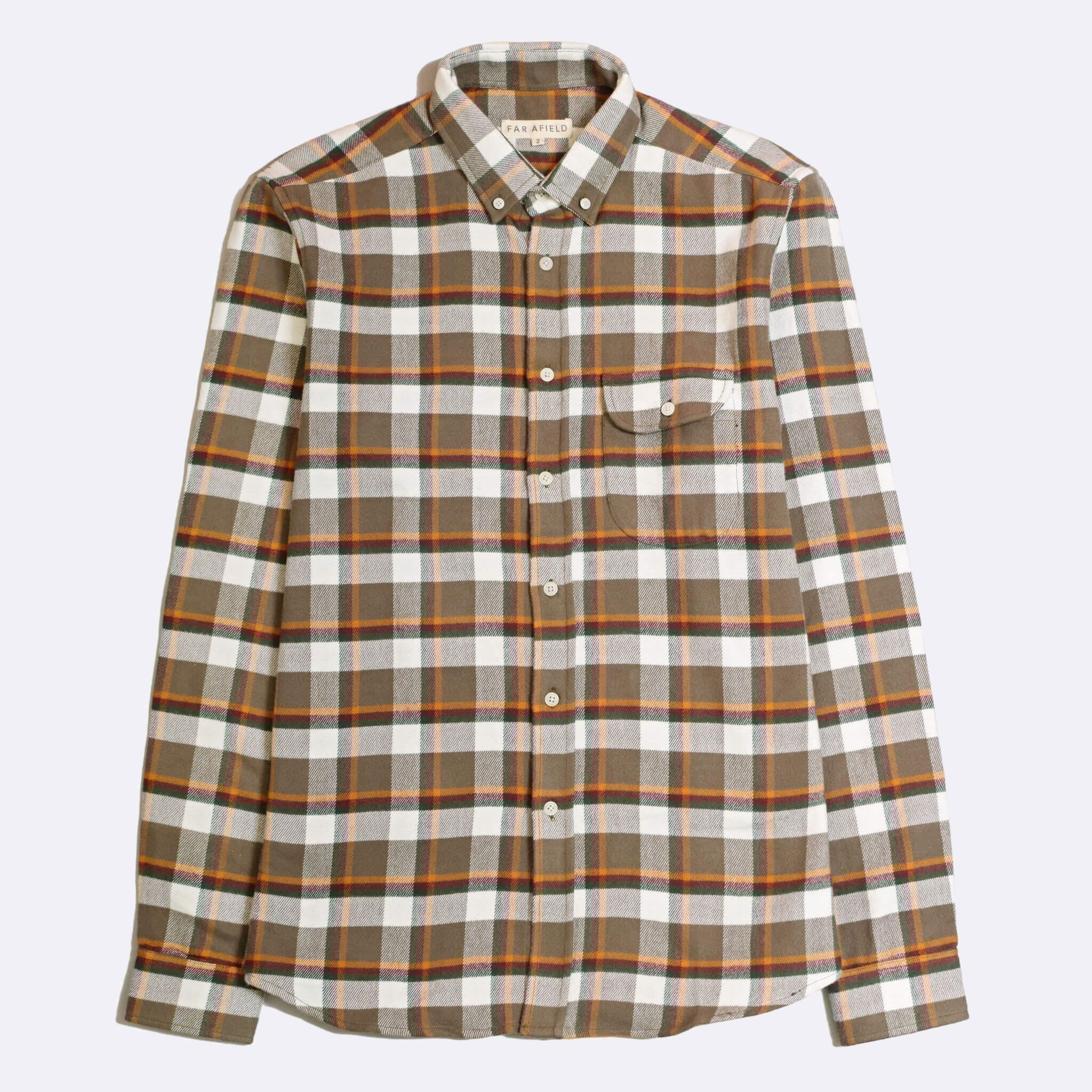 Far Afield Larry Long Sleeve Shirt a Moscow Check BCI Cotton Fabric/Cotton Flannel Work Lumberjack Check Casual