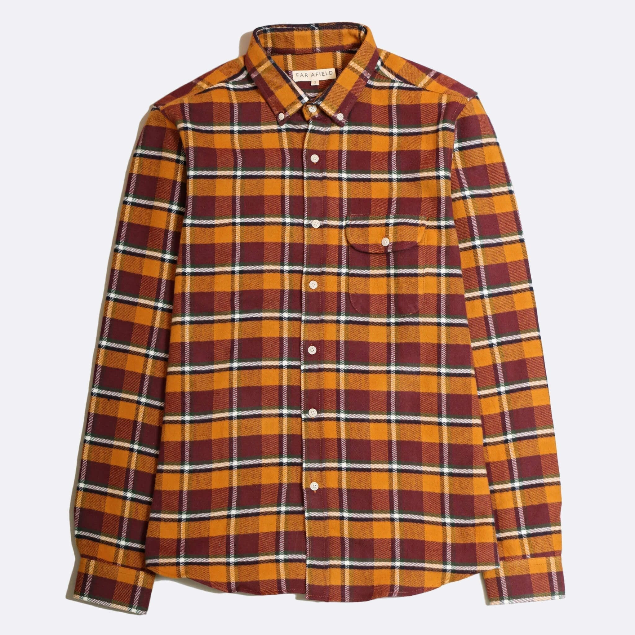 Far Afield Larry Long Sleeve Shirt a Omsk Check BCI Cotton Fabric/Cotton Flannel Work Lumberjack Check Casual