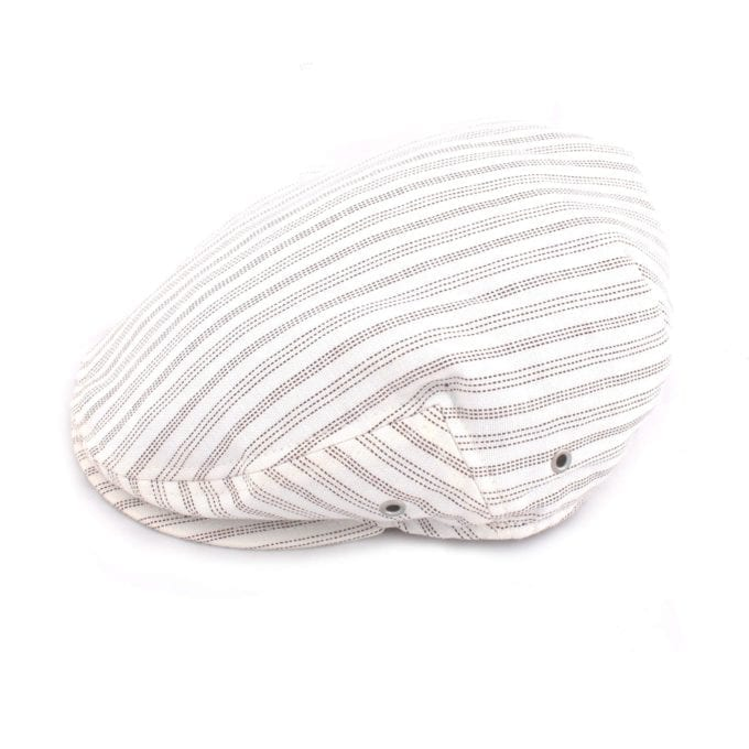 Far Afield Flat Cap a White Organic Cotton Fabric