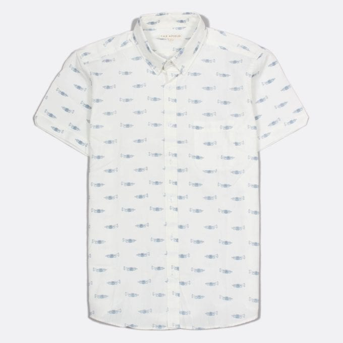 Far Afield Mod Button Down Short Sleeve Shirt a White Cotton Trumpet Repeat Pattern Print Fabric Smart Casual