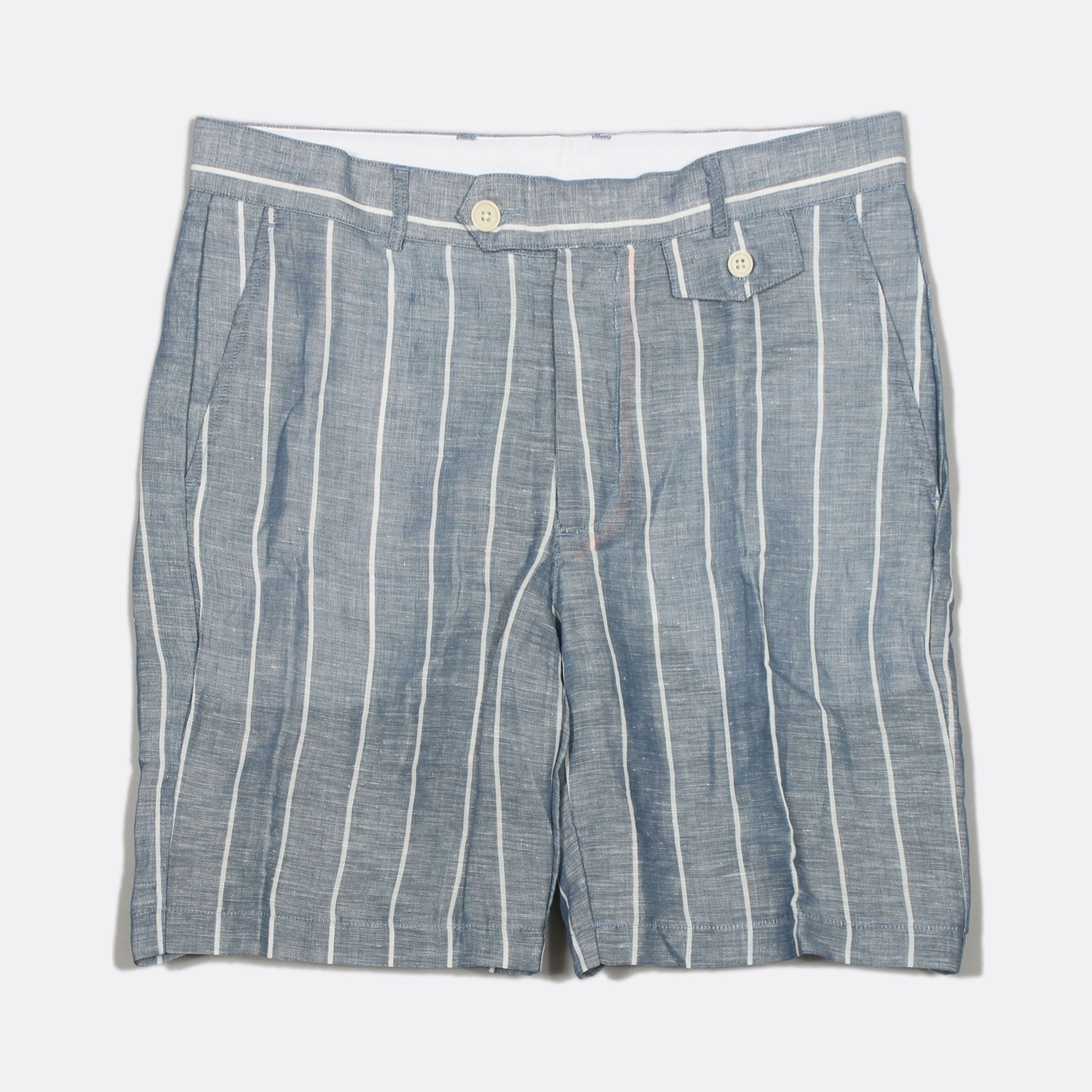 Far Afield Tricker Shorts a Blue Linen Fabric Classic Tailored Stripe Casual