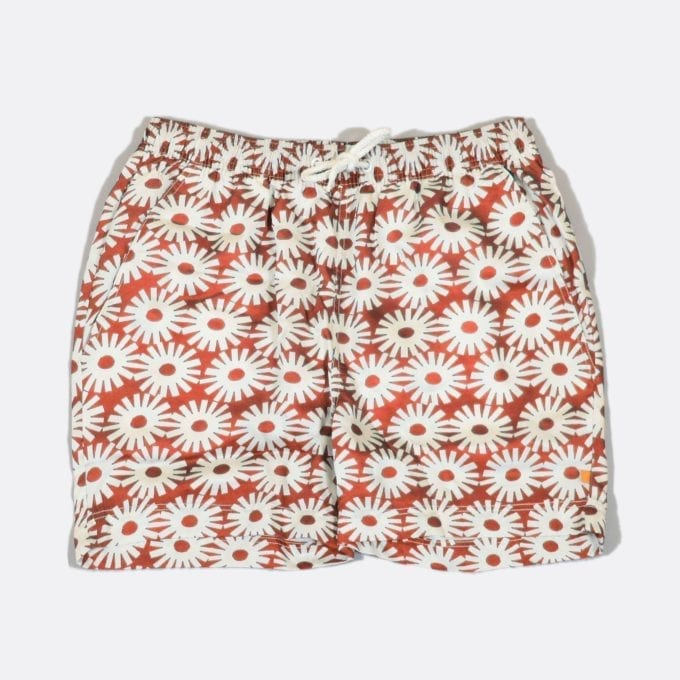 Far Afield Epik Print Swim Shorts a Red Polyester Floral Motif Repeat Pattern Fabric Fabric Casual