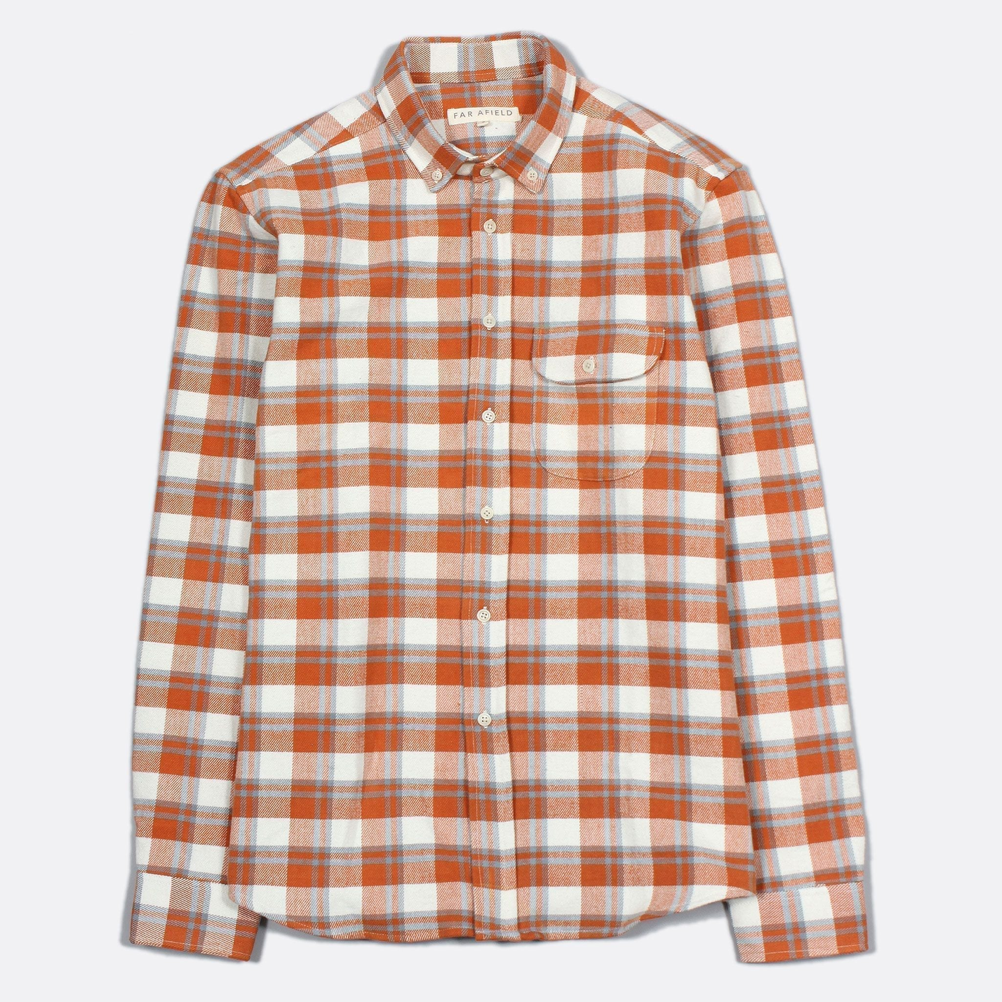 Far Afield Larry Long Sleeve Shirt a Orange/White Work Lumberjack Check Fabric Casual