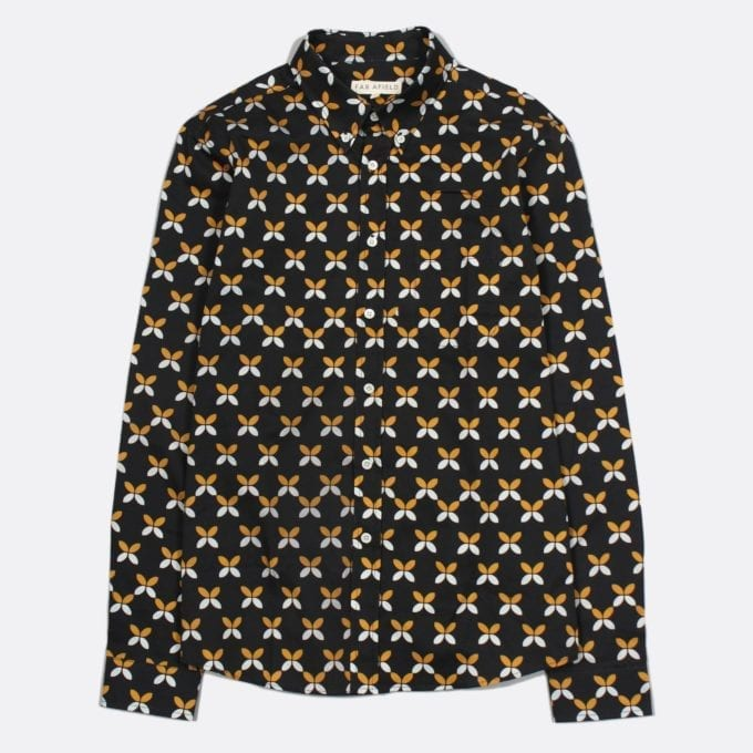Far Afield Mod Button Down Long Sleeve Shirt a BlackFloral Repeat Pattern Print Fabric Smart Casual
