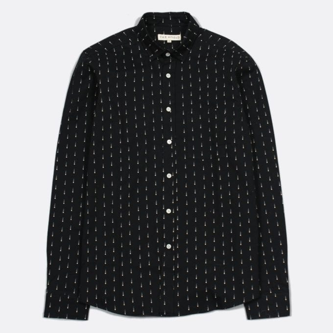 Far Afield Cognito Long Sleeve Shirt a Black Cotton Winter Snow Repeat Pattern Print Fabric Smart Casual