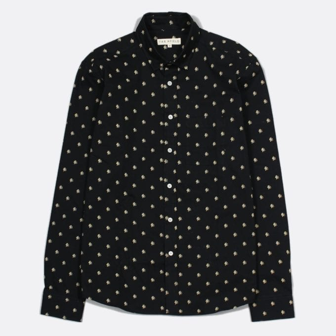 Far Afield Cognito Long Sleeve Shirt a Black Cotton Hiker Repeat Pattern Print Fabric Smart Casual
