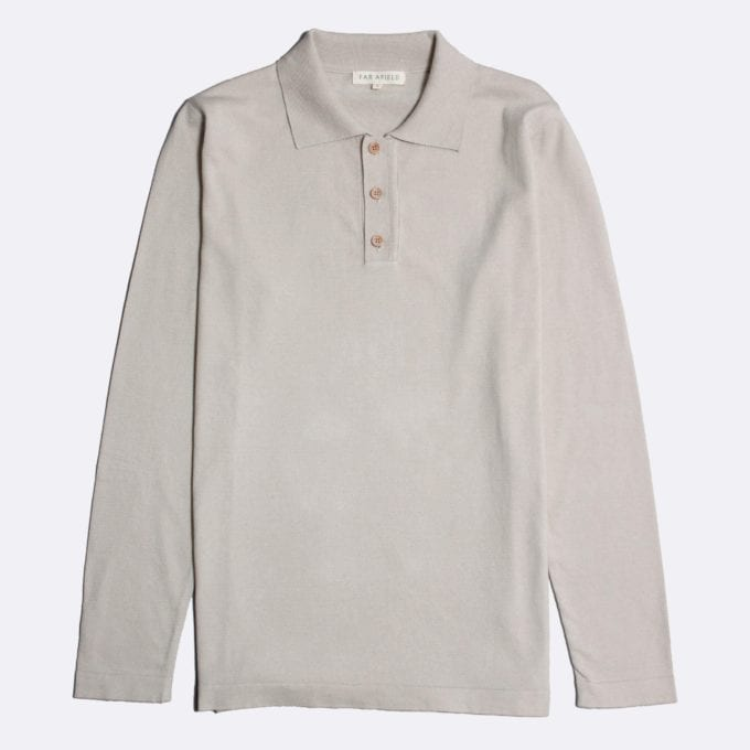 Far Afield Antonio Long Sleeve Polo a Pumice Stone Organic Cotton Classic Fabric Knitwear Casual