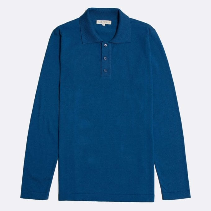 Far Afield Antonio Long Sleeve Polo a Monaco Blue Organic Cotton Classic Fabric Knitwear Casual