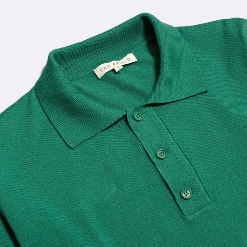 Far Afield Antonio Long Sleeve Polo a Bottle Green Organic Cotton Classic Fabric Knitwear Casual 2