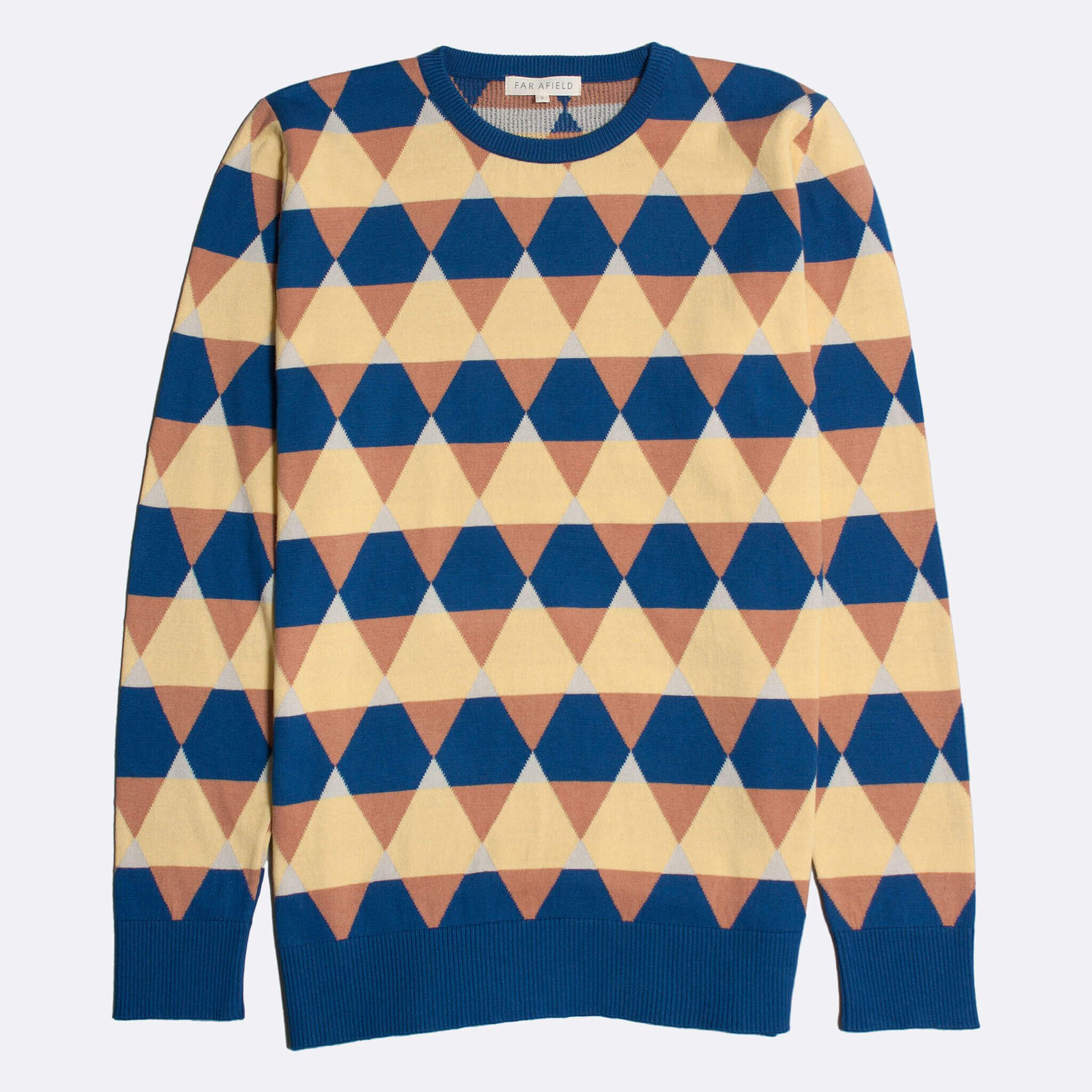 Far Afield Amnesia Long Sleeve Crew Neck a Blue / Orange / Yellow BCI Cotton Classic Fabric Knitted Jumper Casual