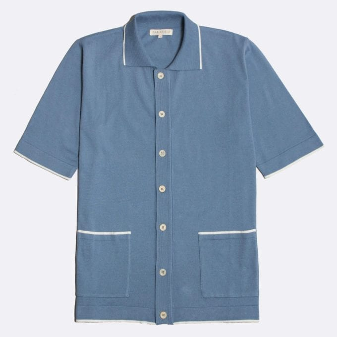 Far Afield Errol Short Sleeve Polo a Stonewash Blue BCI Cotton Fabric Italian Mod Knitwear Smart Casual