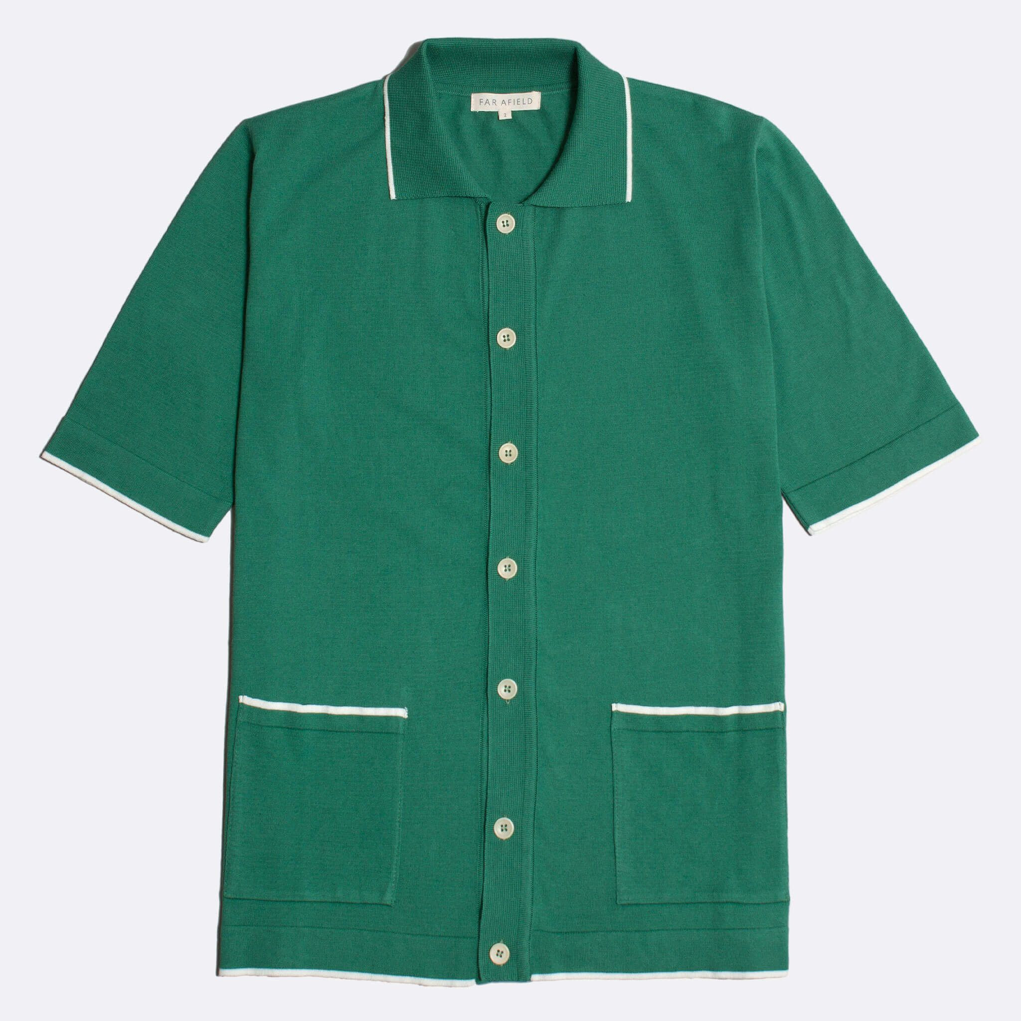 Far Afield Errol Short Sleeve Polo a Bottle Green BCI Cotton Fabric Italian Mod Knitwear Smart Casual