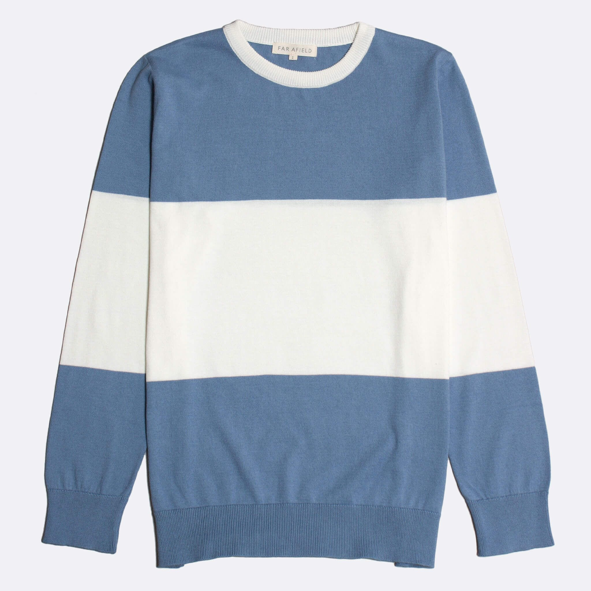 Far Afield Nussa Crew Neck Knit a Stonewash Blue / White BCI Cotton Classic Fabric Jumper Casual
