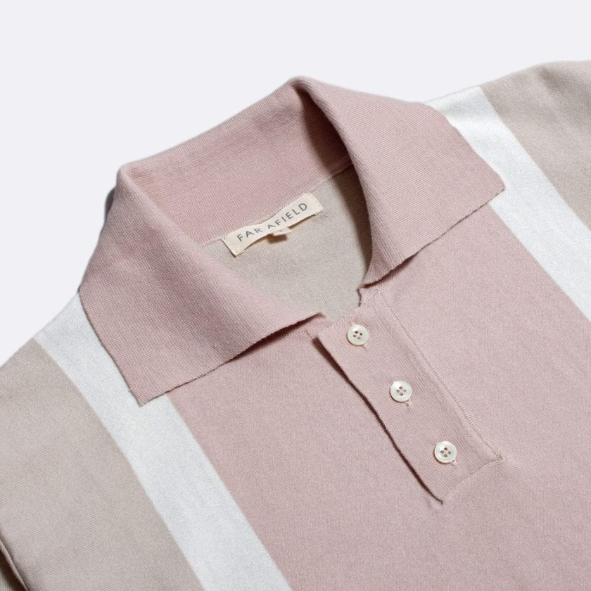 Far Afield Cole Trio Short Sleeve Polo a Stone / White / Pink BCI Cotton Fabric Italian Mod Knitwear Smart Casual 2