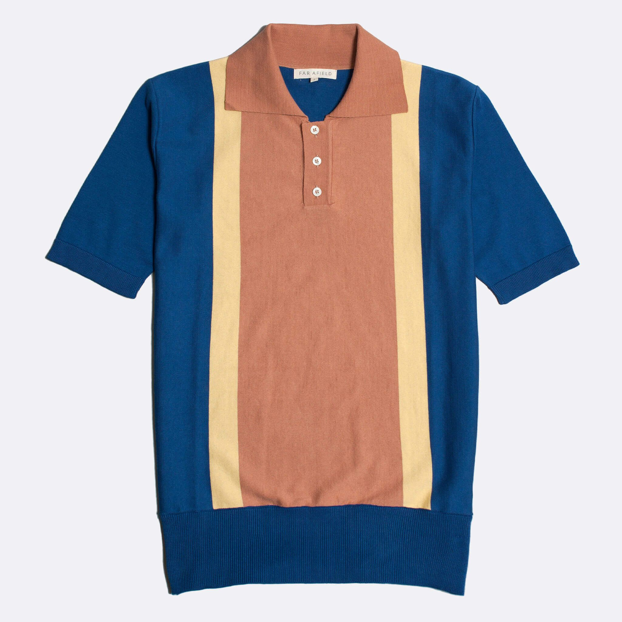 Far Afield Cole Trio Short Sleeve Polo a Blue / Yellow / Orange BCI Cotton Fabric Italian Mod Knitwear Smart Casual
