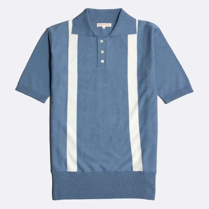 Far Afield Cole Duo Short Sleeve Polo a Stonewash Blue BCI Cotton Fabric Italian Mod Knitwear Smart Casual