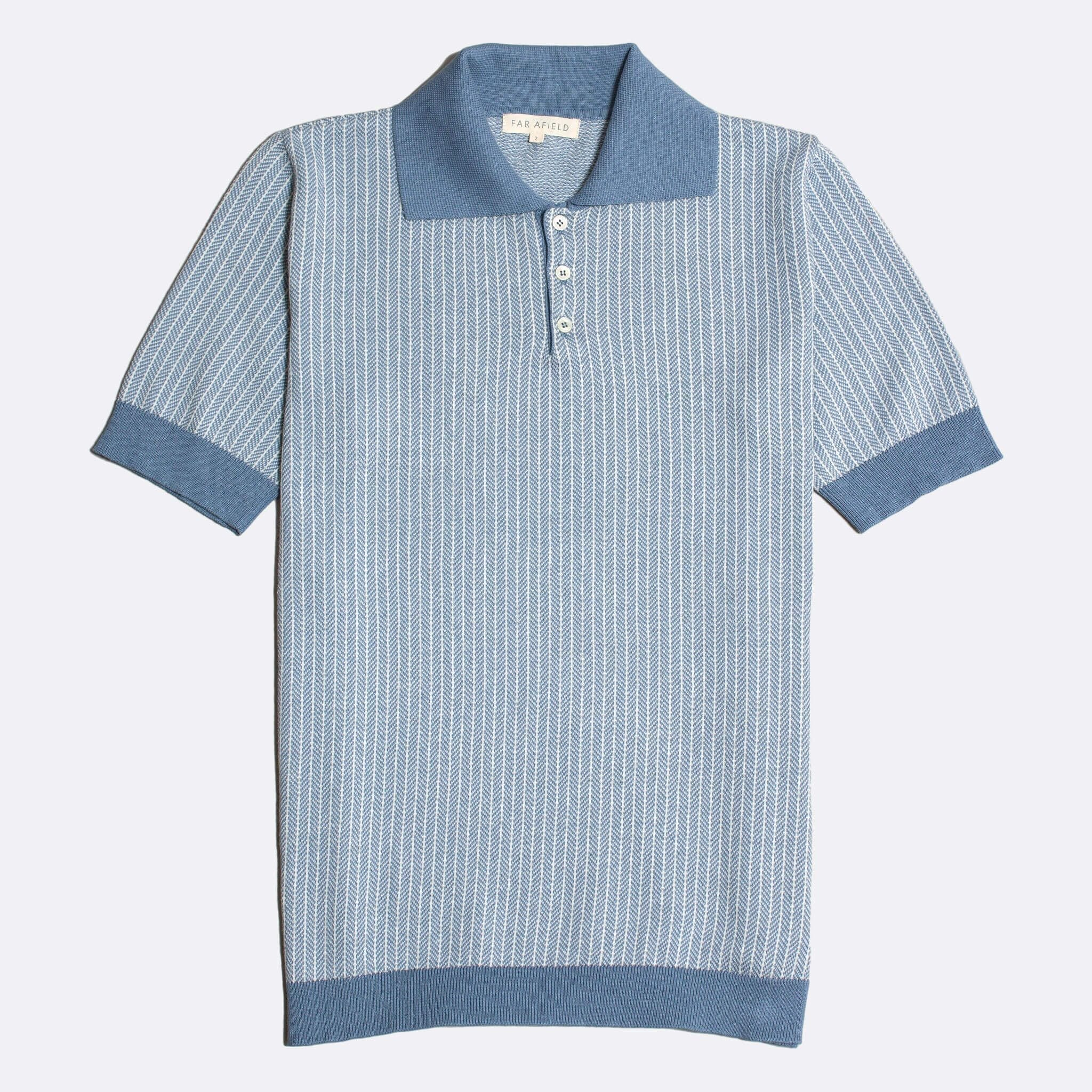 Far Afield Blakey Short Sleeve Polo a Stonewash Blue BCI Cotton Fabric Italian Mod Knitwear Smart Casual