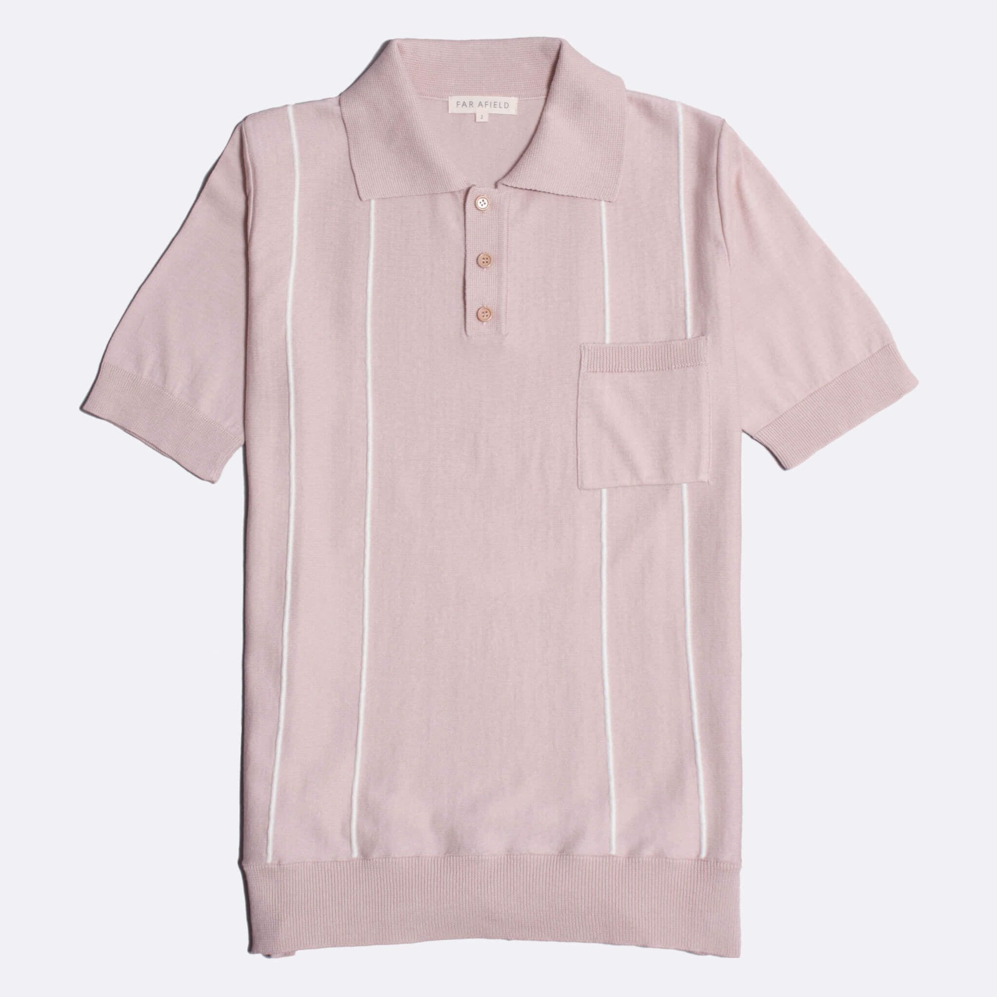 Far Afield Alfaro Short Sleeve Polo a Dust Pink BCI Cotton Fabric Italian Mod Knitwear Smart Casual