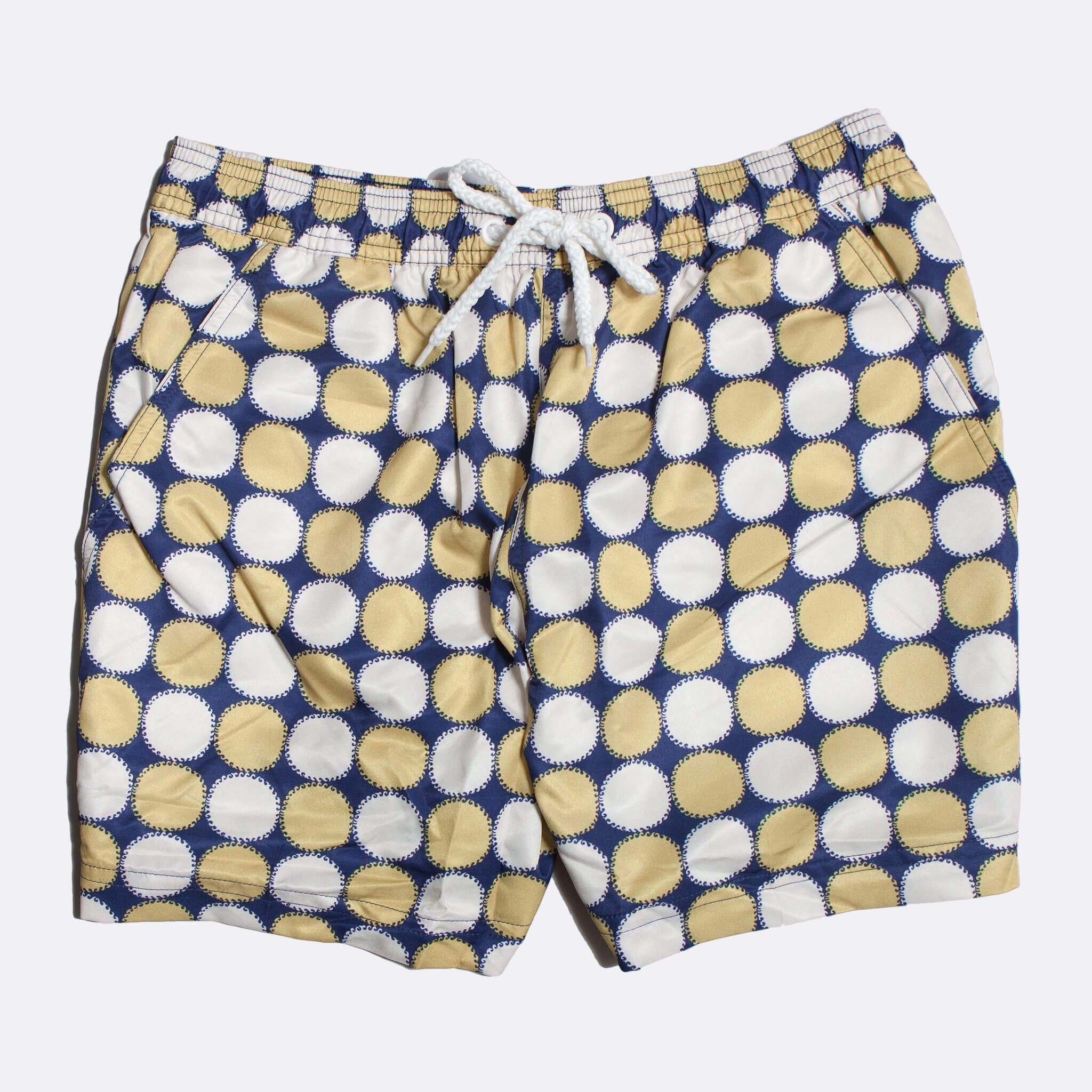 Far Afield Blazing Print Swim Shorts a Monaco Blue Recycled Plastic Sun Motif Repeat Pattern Fabric Casual