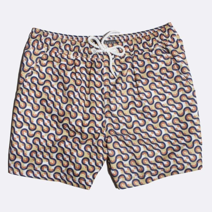 Far Afield Waves Print Swim Shorts 50% Off Selected Recycled Plastic Swimwear