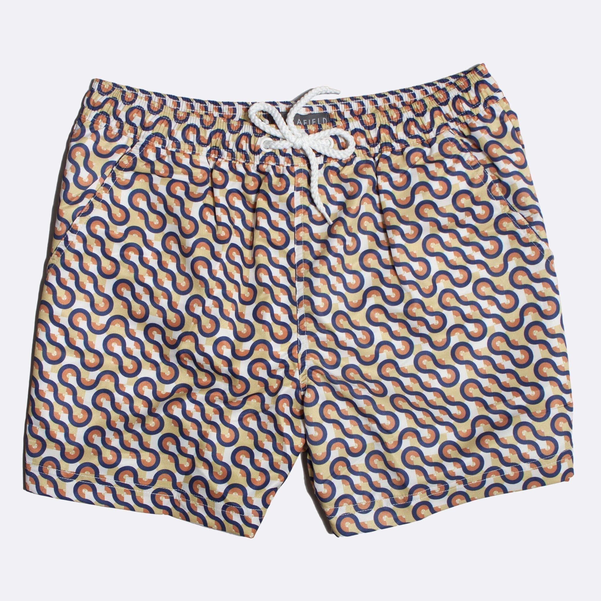 Far Afield Waves Print Swim Shorts a Multi Colour Recycled Plastic Surfing Repeat Pattern Fabric Casual