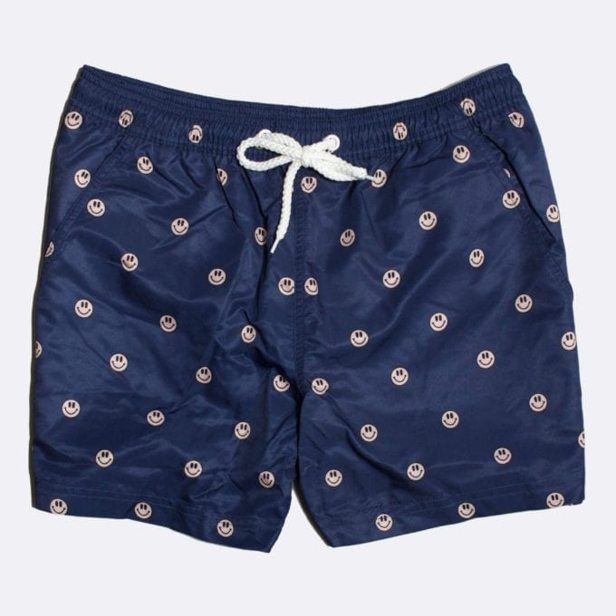 Far Afield Acid Smile Print Swim Shorts 50% Off Selected Recycled Plastic Swimwear