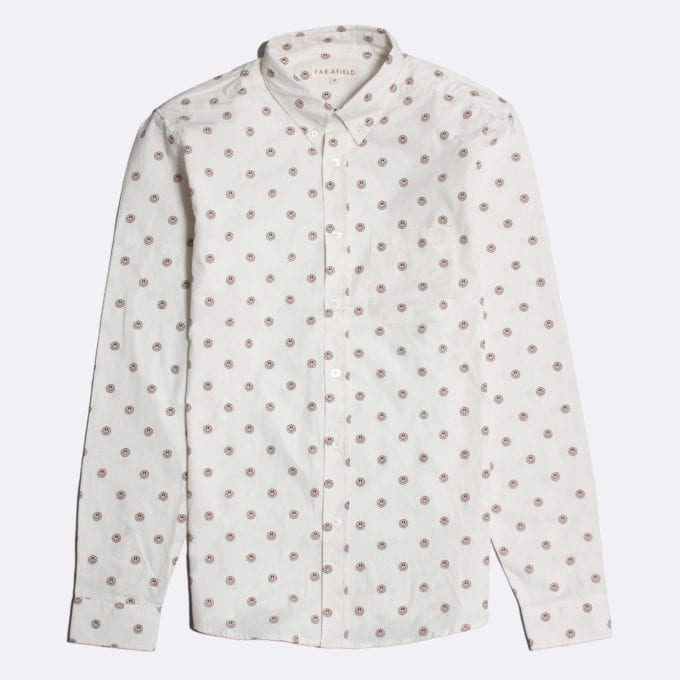 Far Afield Mod Button Down Long Sleeve Shirt a White BCI Cotton Smiley Face Repeat Pattern Print Fabric Smart Casual