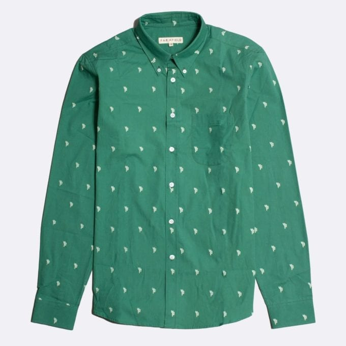 Far Afield Mod Button Down Long Sleeve Shirt a Bottle Green Cotton Cactus Repeat Pattern Print Fabric Smart Casual