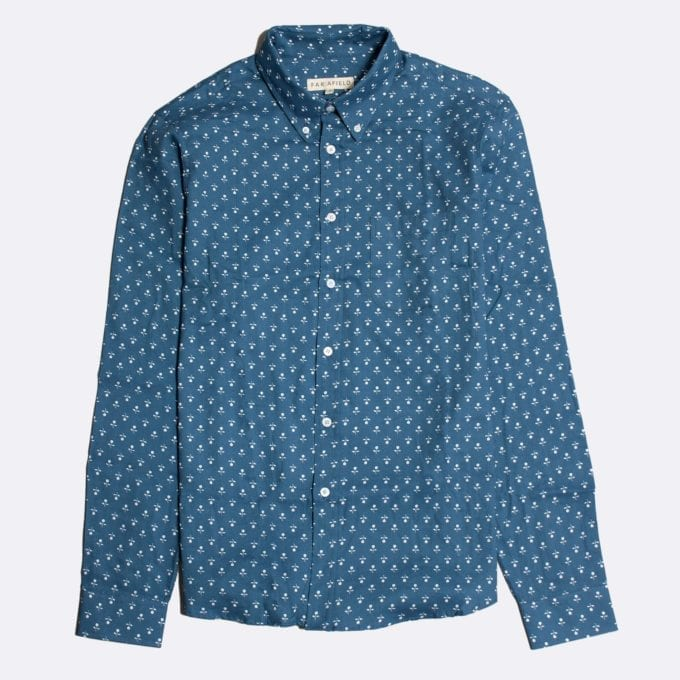 Far Afield Mod Button Down Long Sleeve Shirt a Stonewash Blue Up-Cycled Fabric Small Floral Repeat Pattern Print Smart Casual