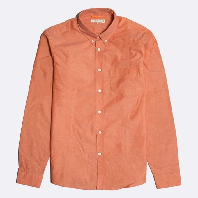 Far Afield Field Long Sleeve Shirt a Sol Orange Oxford Cotton/Up-Cycled Fabric Classic Button Down Casual