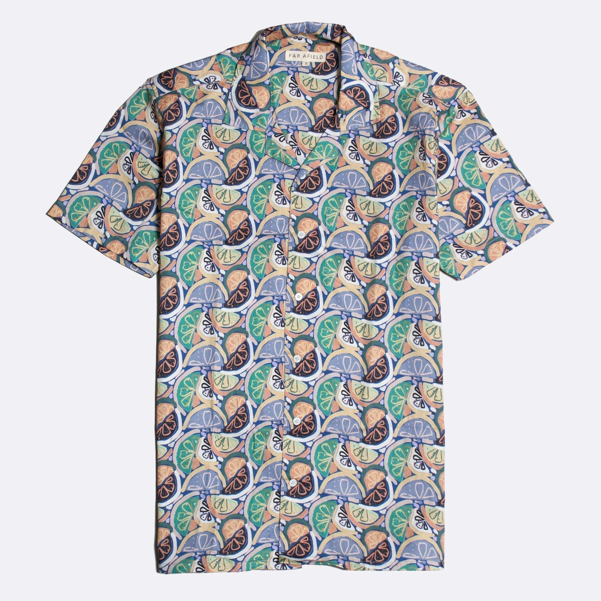 Far Afield Stachio Short Sleeve Shirt a Multi Colour BCI Cotton Fabric Hawaiian Bowling Style Smart Casual