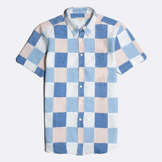Far Afield Mod Button Down Short Sleeve Shirt a Blue/Pink Cotton/Up-Cycled Fabric Patchwork Check Smart Casual