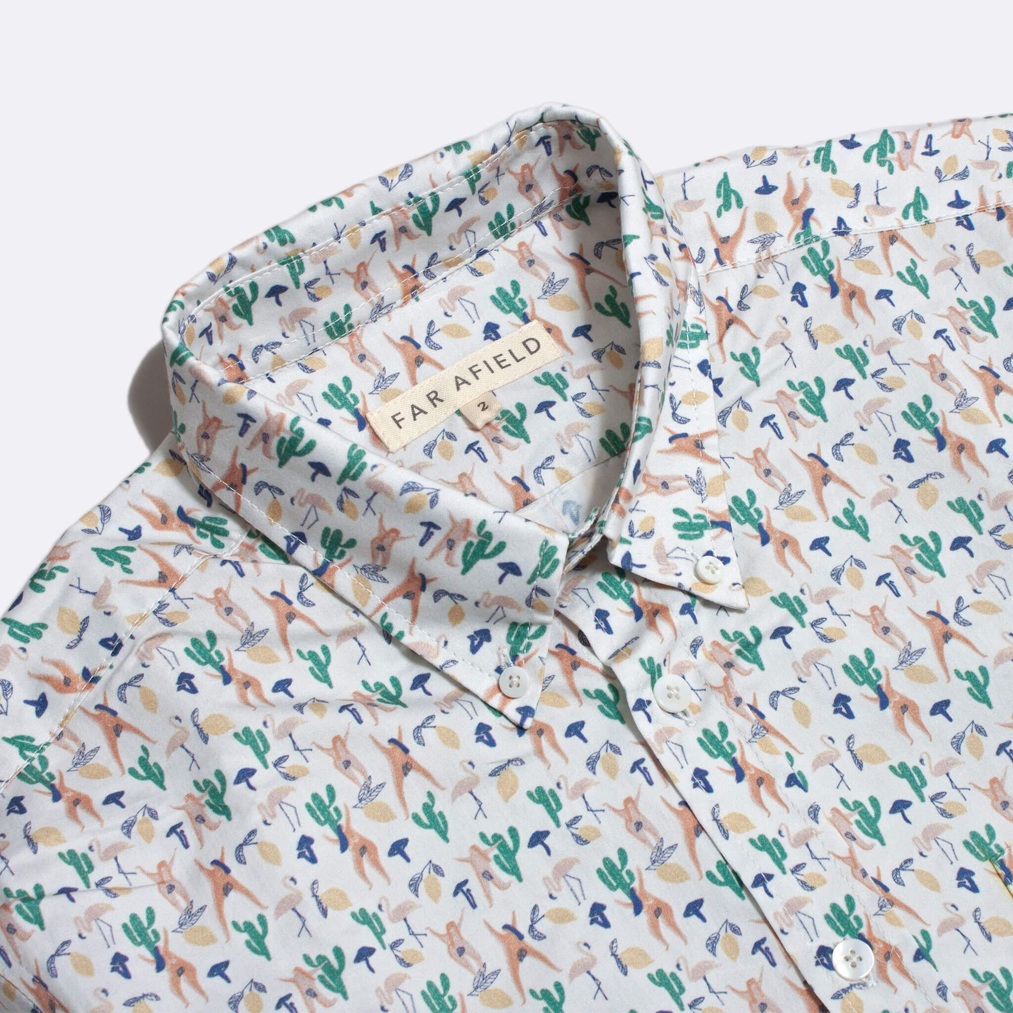 Far Afield Mod Button Down Short Sleeve Shirt a Multi Colour BCI Cotton Hippy Repeat Pattern Print Fabric Smart Casual 2