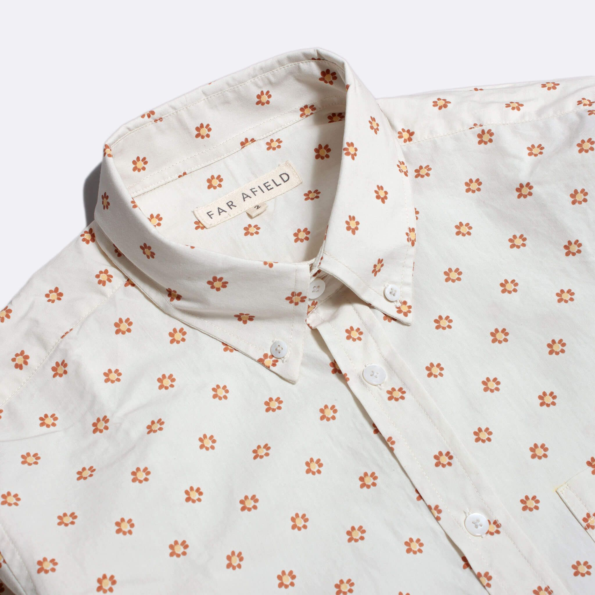 Far Afield Mod Button Down Short Sleeve Shirt a White BCI Cotton Flower Power Repeat Pattern Print Fabric Smart Casual 2