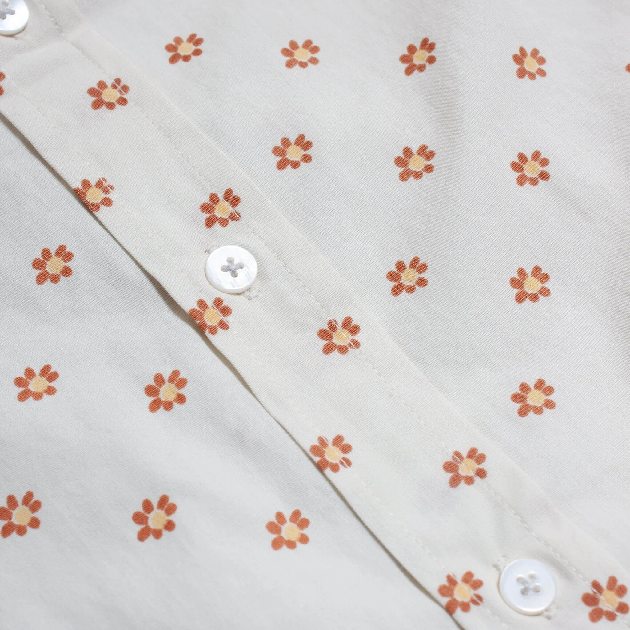 Far Afield Mod Button Down Short Sleeve Shirt a White BCI Cotton Flower Power Repeat Pattern Print Fabric Smart Casual 3