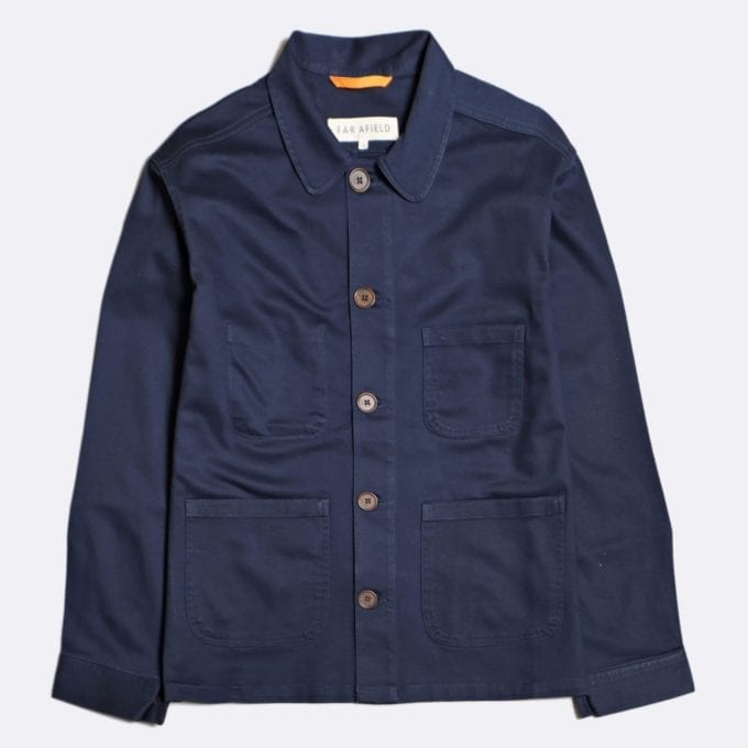 Far Afield Station Jacket a Ensign Blue Organic Cotton Twill Fabric Utility Overshirt Casual Work