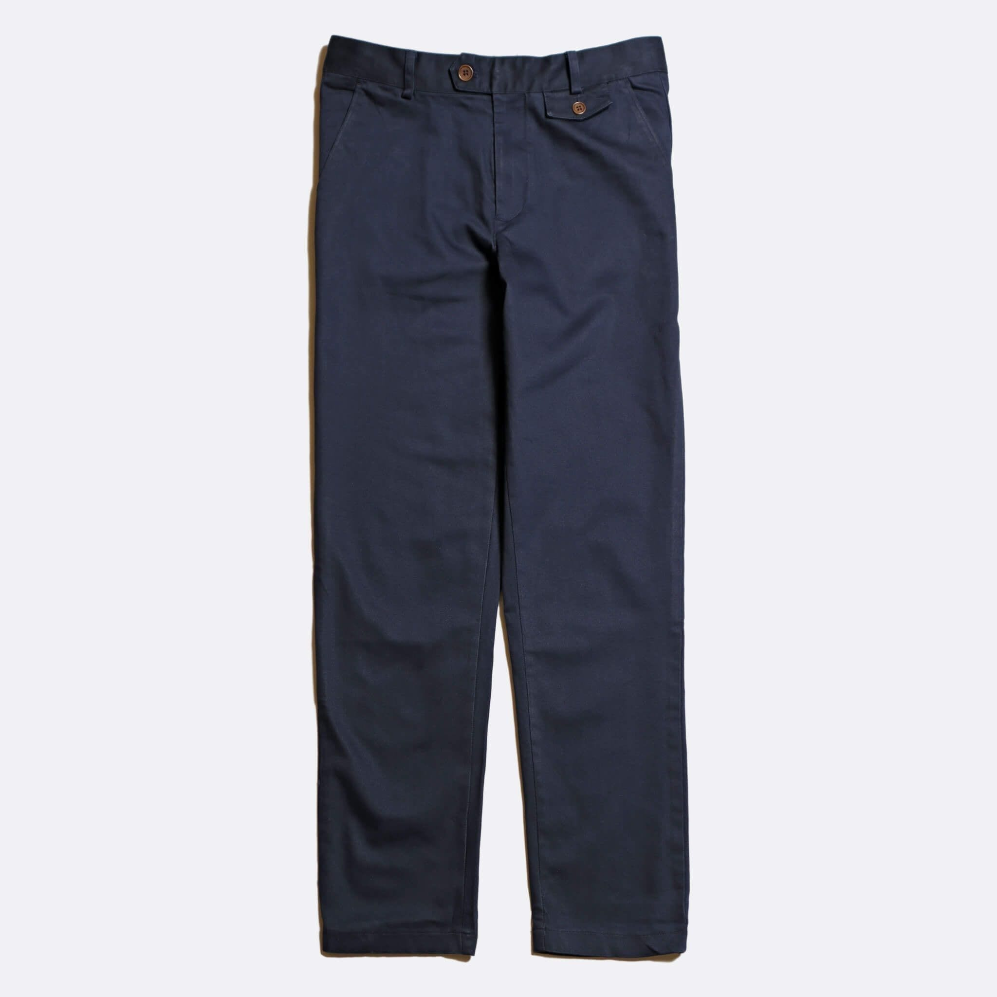 Far Afield Tricker Trousers a Ensign Blue Organic Cotton Twill Classic Tailored Smart Casual Trousers