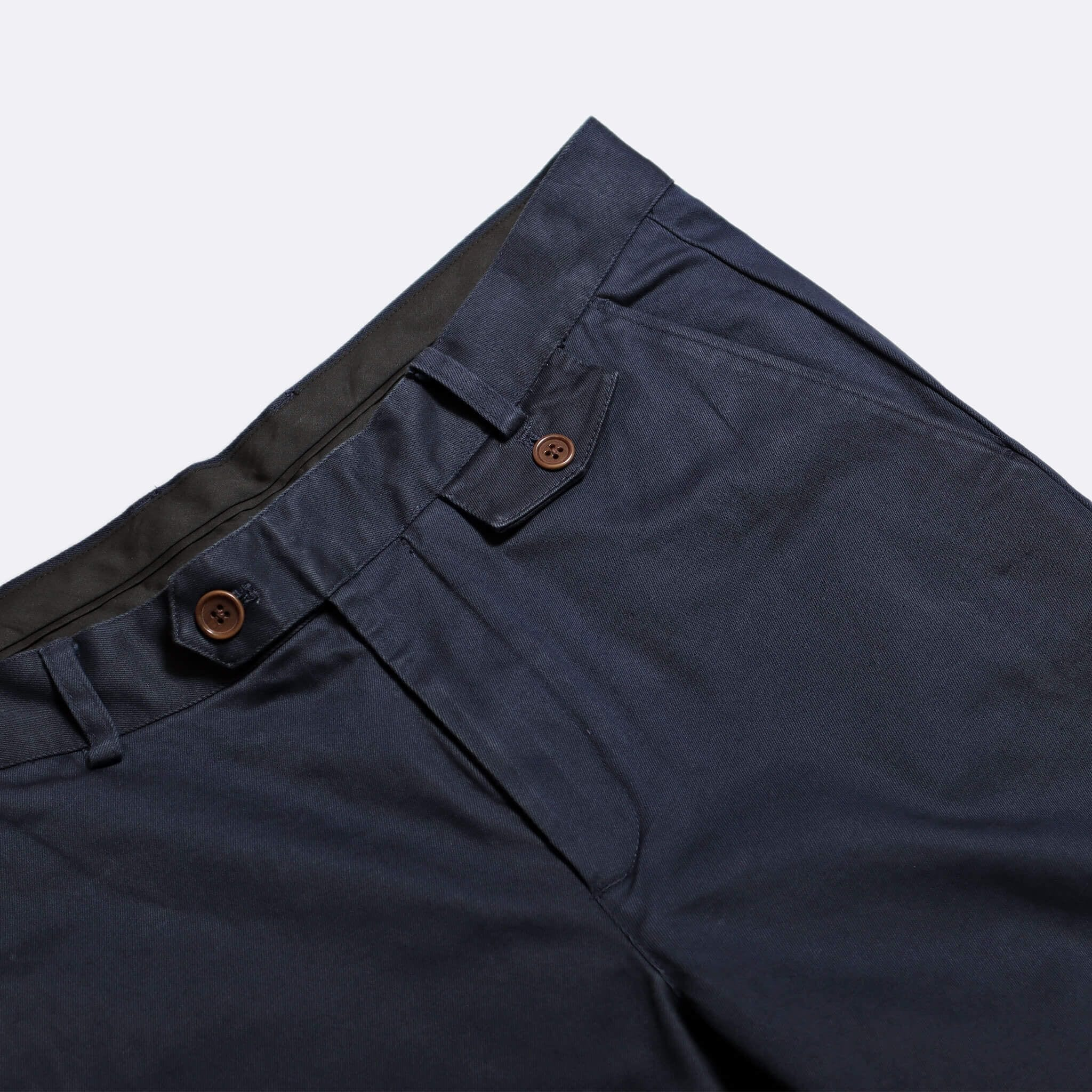 Far Afield Tricker Trousers a Ensign Blue Organic Cotton Twill Classic Tailored Smart Casual Trousers 2