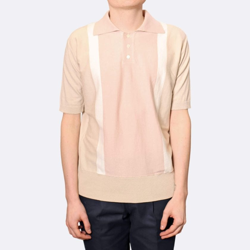 Far Afield Cole Trio Short Sleeve Polo a Stone / White / Pink BCI Cotton Fabric Italian Mod Knitwear Smart Casual 3