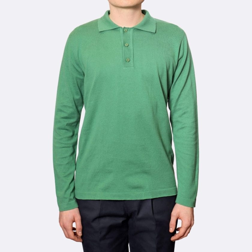 Far Afield Antonio Long Sleeve Polo a Bottle Green Organic Cotton Classic Fabric Knitwear Casual 3