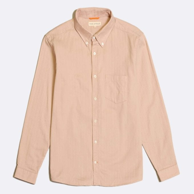 Far Afield Field Long Sleeve Shirt a Dust Pink BCI Cotton/Textured Stripe Cotton Classic Fabric Button Down Casual