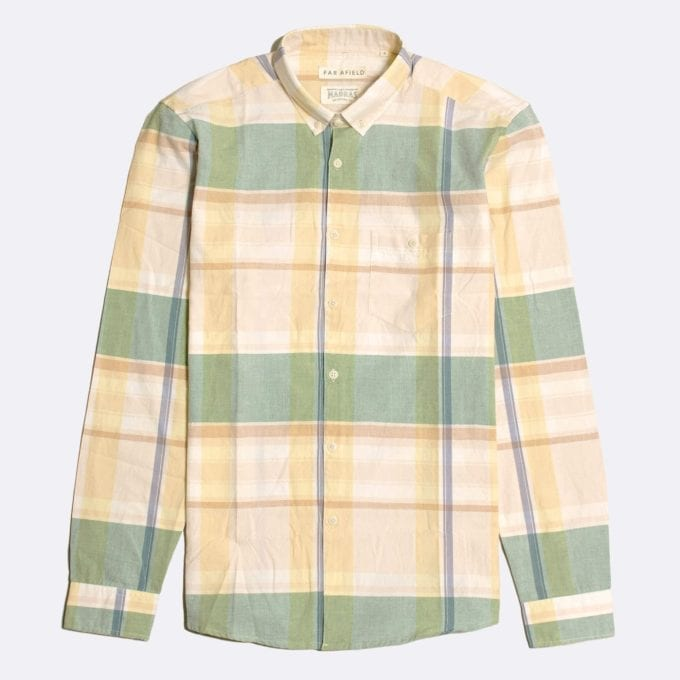 Far Afield x Madras Shirting Co' Casual Button Down Long Sleeve Shirt a Green/Yellow BCI Cotton Classic Fabric Check Smart Casual