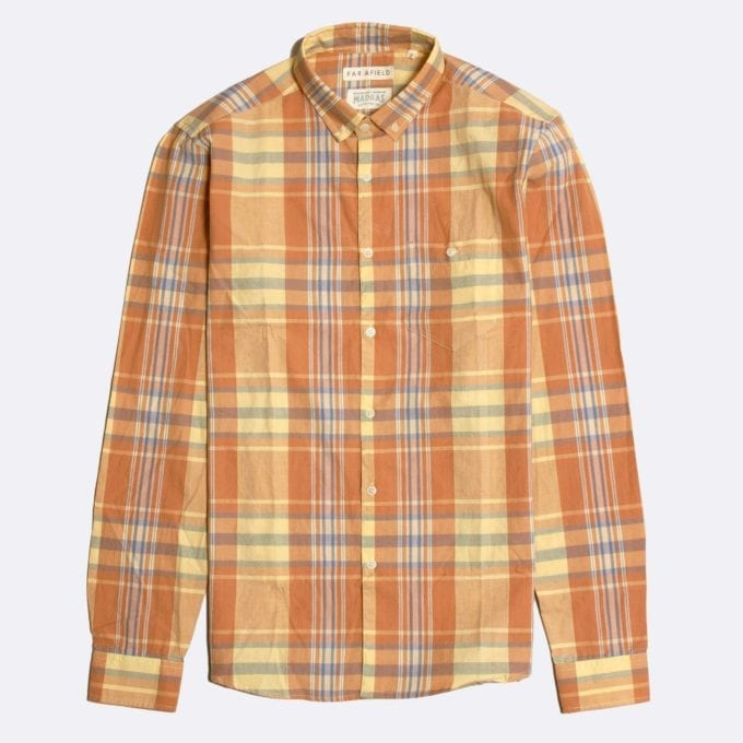 Far Afield x Madras Shirting Co' Casual Button Down Long Sleeve Shirt a Yellow/Orange BCI Cotton Classic Fabric Check Smart Casual