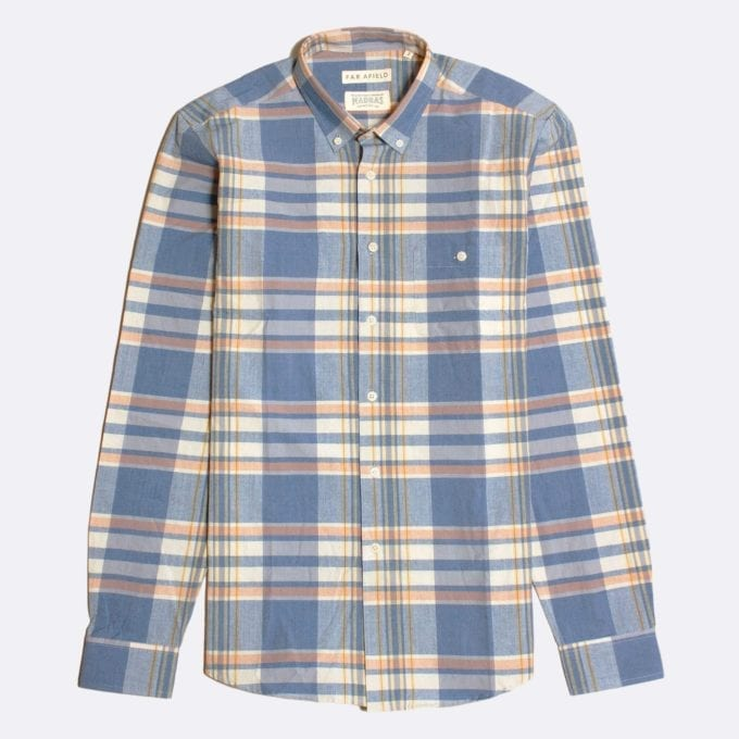 Far Afield x Madras Shirting Co' Casual Button Down Long Sleeve Shirt a Blue/White BCI Cotton Classic Fabric Check Smart Casual