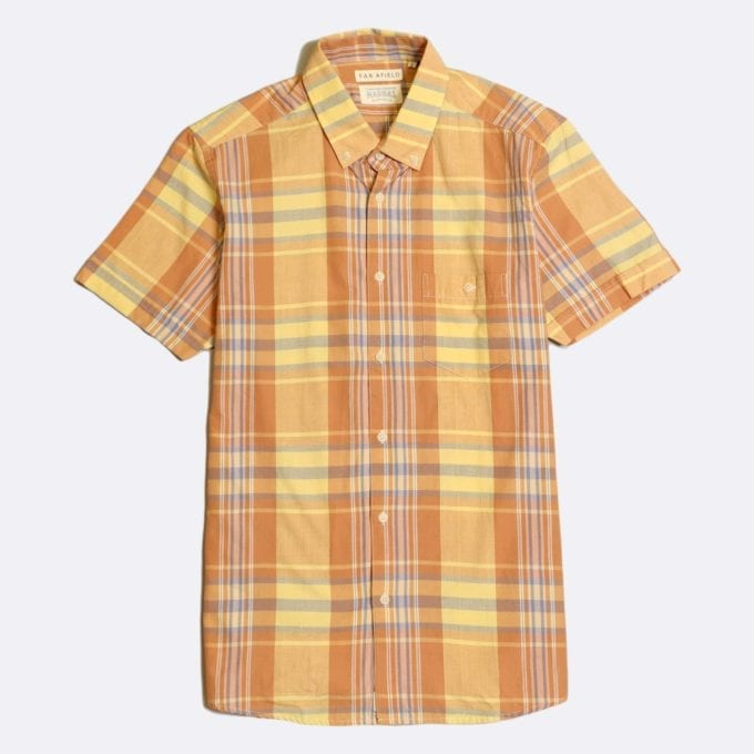 Far Afield x Madras Shirting Co' Casual Button Short Sleeve Shirt a Yellow/Orange BCI Cotton Classic Fabric Check Smart Casual