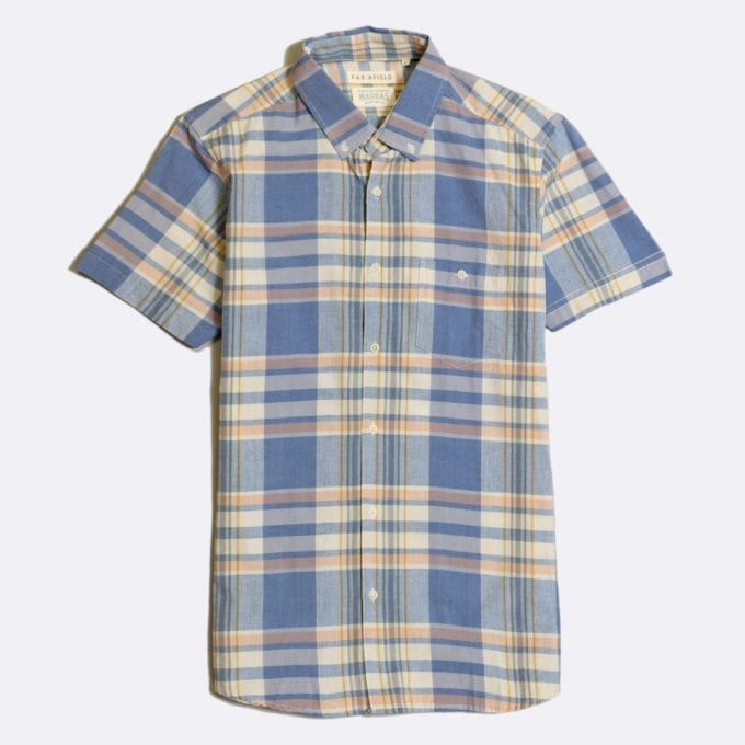 Far Afield x Madras Shirting Co' Casual Button Short Sleeve Shirt a Blue/White BCI Cotton Classic Fabric Check Smart Casual