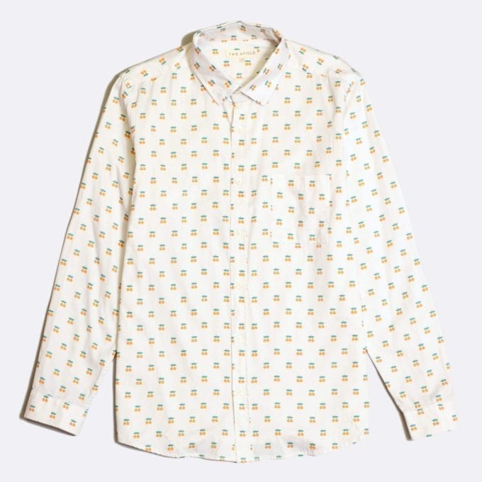 Far Afield Cognito Long Sleeve Shirt a White Cotton Oranges Fruit Repeat Pattern Print Fabric Smart Casual